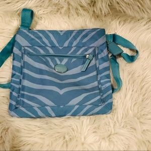 Coach Getaway Nylon Zebra File Bag Teal
